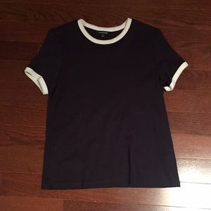 Land's End Navy and white cropped top